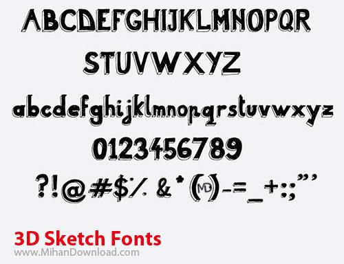 3D Sketch Fonts دانلود 3D Sketch Fonts مجموعه ای با عنوان فونت طرح سه بعدي
