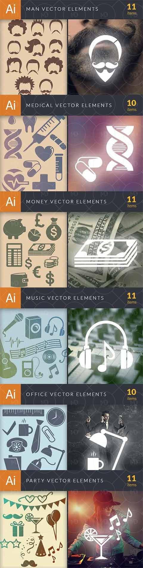 579 Premium Vector Elements دانلود 579 وکتور پرمیوم