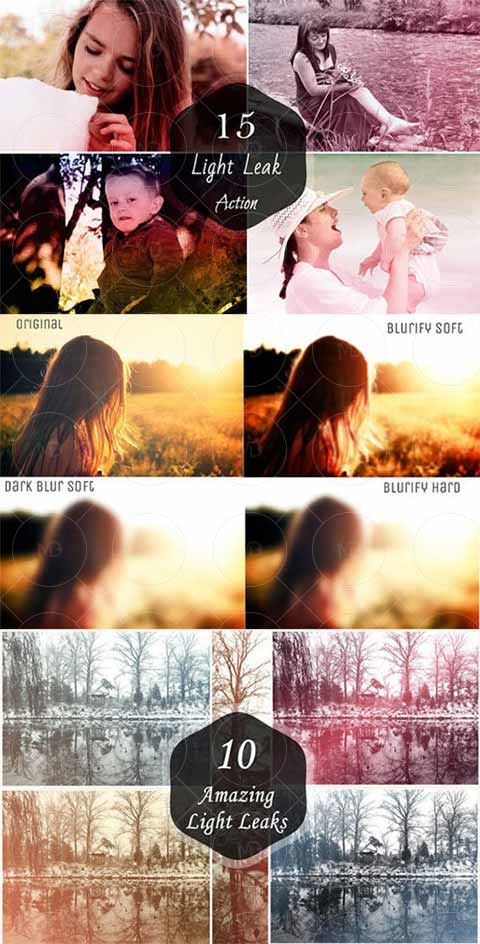 Blur and Light Leaks Photoshop Actions دانلود اکشن های مات کننده تصویر Blur and Light Leaks Photoshop Actions