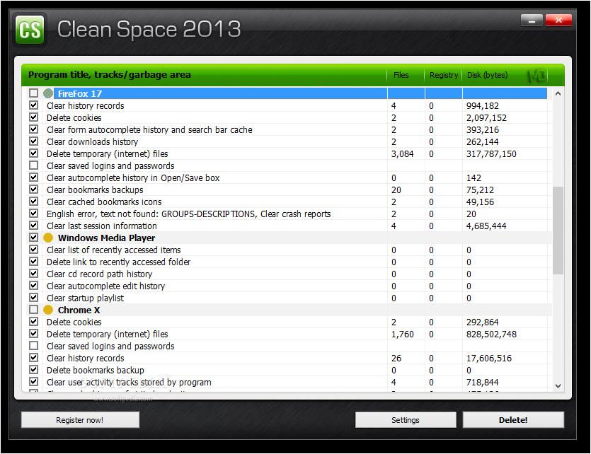 Clean Space Screenshots3 دانلود Clean Space 2013 09 نرم افزار پاکسازی تمامی ردپاهای موجود در ویندوز