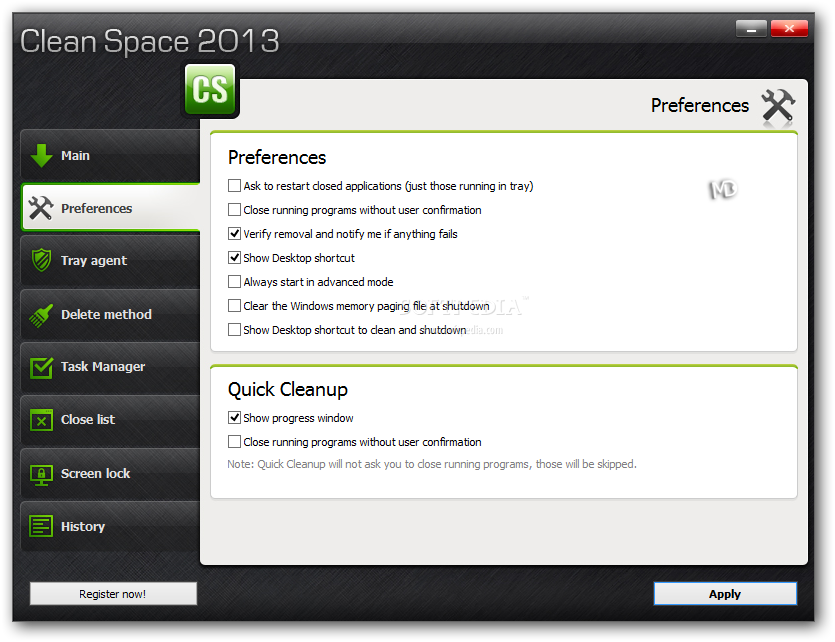Clean Space Screenshots6 دانلود Clean Space 2013 09 نرم افزار پاکسازی تمامی ردپاهای موجود در ویندوز