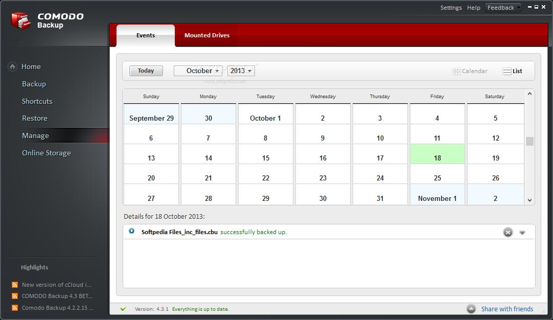 Comodo BackUp Screenshots دانلود نرم افزار بکاپ گیری Comodo BackUp 4.4.1.23