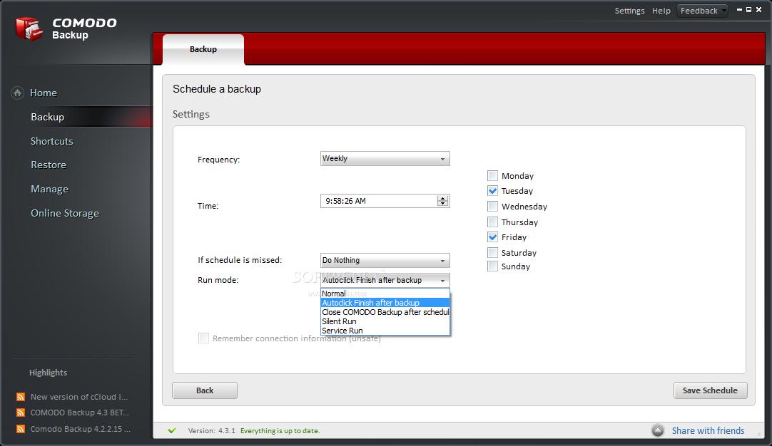 Comodo BackUp Screenshots3 دانلود نرم افزار بکاپ گیری Comodo BackUp 4.4.1.23