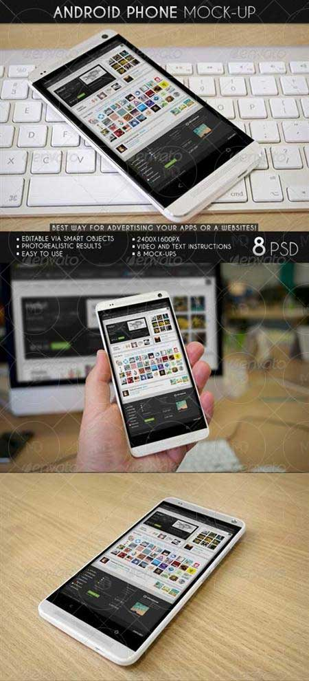 GraphicRiver Android Phone Mock Up دانلود موک آپ گوشی اندروید GraphicRiver Android Phone MockUp