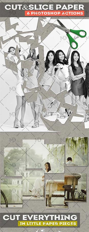 GraphicRiver Cut and Slice Paper Photoshop Actions دانلود اکشن تبدیل عکس به قطعات زیبا GraphicRiver Cut and Slice Paper