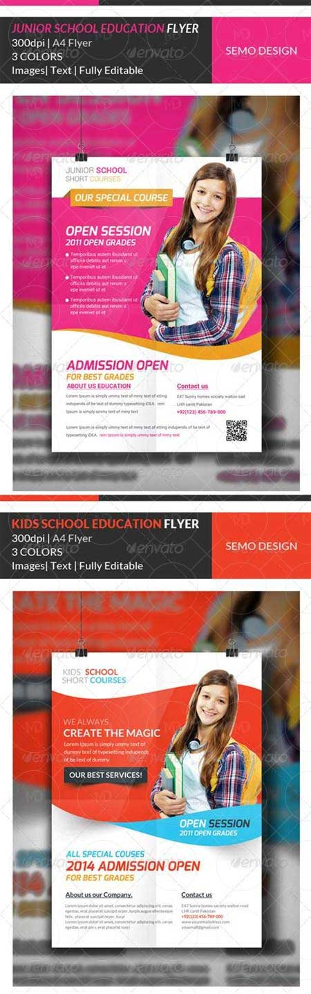 GraphicRiver Junior School Education Flyer Template Bundle دانلود طرح لایه باز مدرسه GraphicRiver Junior School Education