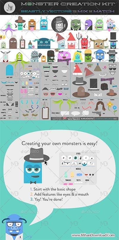 GraphicRiver Monster Creation Kit دانلود وکتور هیولا GraphicRiver Monster Creation Kit