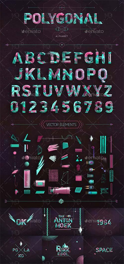 GraphicRiver Polygonal Alphabet فایل لایه باز حروف الفبا