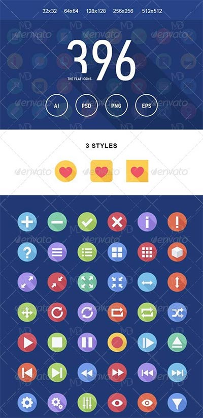GraphicRiver The Flat Icons 396 دانلود آیکون های فلت GraphicRiver The Flat Icons