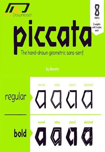 Piccata Font Family1 دانلود مجموعه فونت انگلیسی  Piccata Font Family