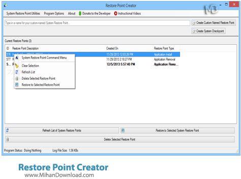 Restore Point Creator نرم افزار مدیریت سیستم ریستور Restore Point Creator 2 2 Build 13