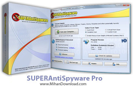 SUPERAntiSpyware Pro v5.0.1142 www.MihanDownload دانلود SUPER AntiSpyware Professional 5 6 1034 Final نرم افزار ضد جاسوسی