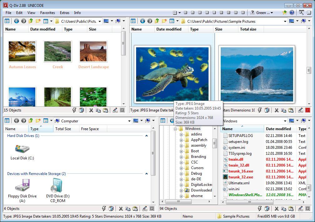 Screenshot.Q Dir 1 دانلود Q Dir 5.99.9 نرم افزار مدیریت فایل ها