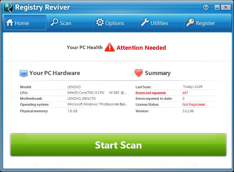 Screenshot.Registry.Reviver 4 نرم افزار پاکسازی و ترمیم رجیستری Registry Reviver 3 0 1 152