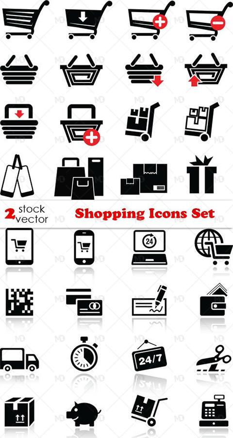 Shopping Icons Set دانلود وکتور آیکون های خرید Shopping Icons Set