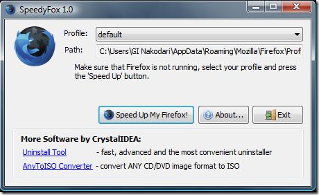Spee دانلود نرم افزار افزایش سرعت فایرفاکس SpeedyFox 2.0.15 Build 96