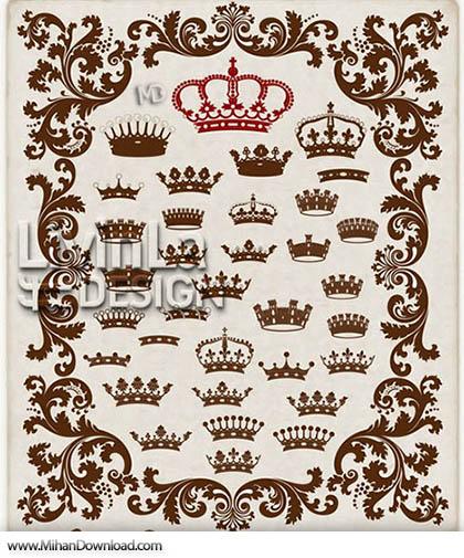 Stock Vector Crown Heraldic Elements 2 دانلود مجموعه آیکون ابزار های سلطنتی Crown Heraldic Elements 2