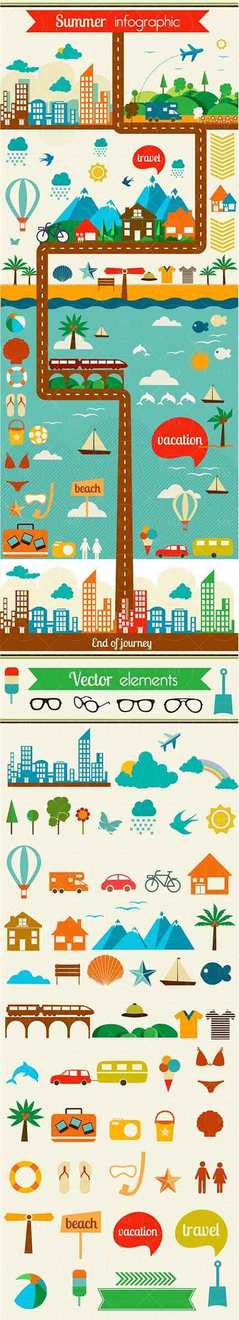 Summer Flat Vector Elements دانلود وکتور تابستان Summer Flat Vector Elements