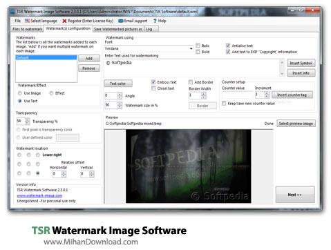 TSR Watermark Image Software نرم افزار قرار دادن واترمارک بر روی تصاویر TSR Watermark Image Software 3 1 0 9