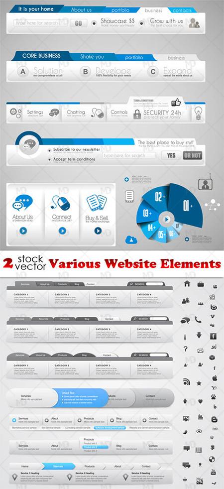 Various Website Elements دانلود وکتور المان های وب سایت Various Website Elements