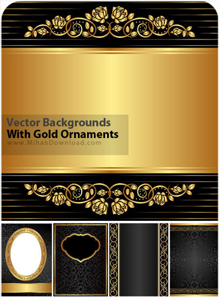 Vector Backgrounds With Gold Ornaments دانلود وکتور پست زمينه طلایی Vectors Backgrounds With Gold Ornaments
