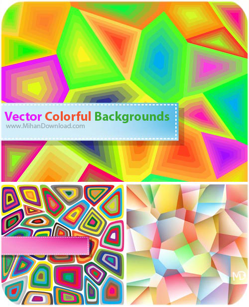 Vector Colorful Backgrounds دانلود وکتور پست زمینه رنگارنگ Vectors Colorful Backgrounds