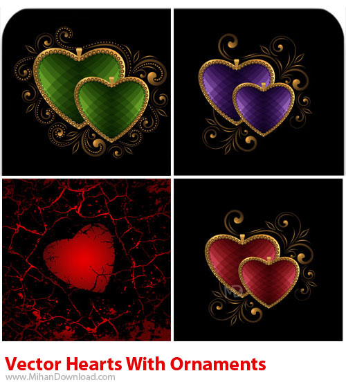 Vector Hearts With Ornaments دانلود وکتور قلب با زیور آلات Vectors Hearts With Ornaments