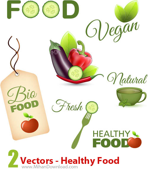 Vectors Healthy Food دانلود Vectors Healthy Food وکتورغذاهاي سالم
