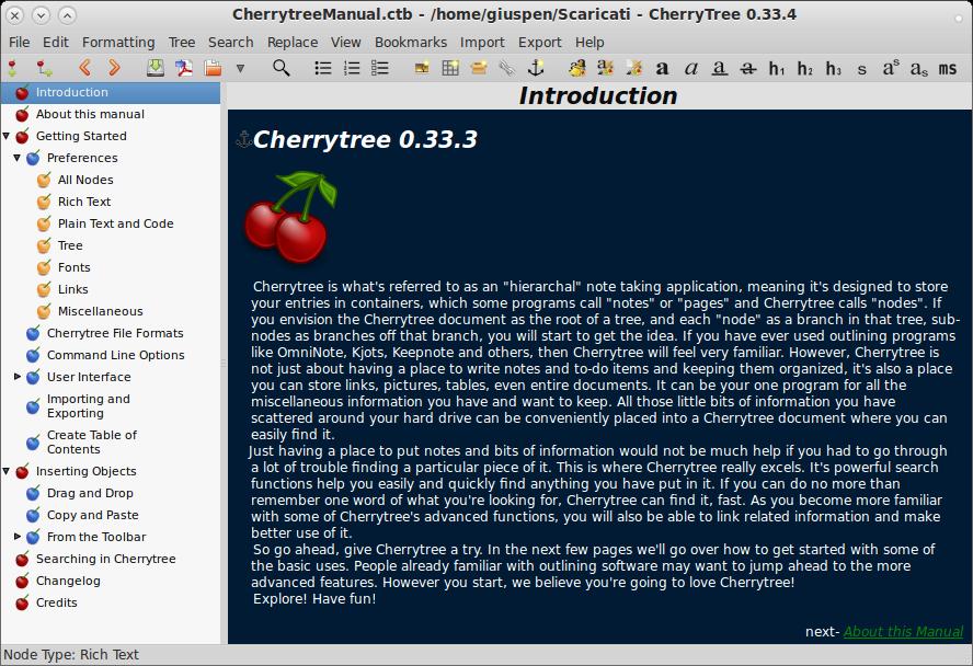 cherrytree دانلود CherryTree 0.37.6 نرم افزار ویرایش متن
