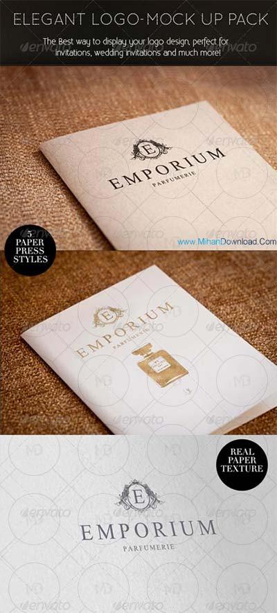 elegent دانلود موک آپ لوگوی شرکت Elegant Paper press Logo