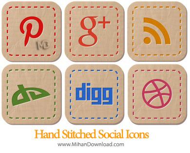 icons 390 Hand Stitched Social Icons دانلود مجموعه آیکون های شبکه اجتماعی Hand Stitched Social Icons