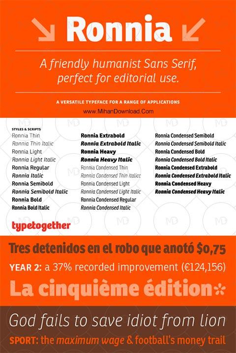 ronnia دانلود فونت انگلیسی رونیا Ronnia Font Family
