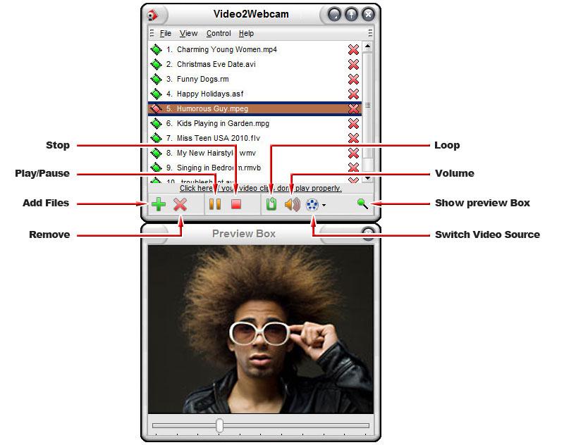screen1 دانلود نرم افزار وبکم مجازی Video2Webcam 3.6.3.8