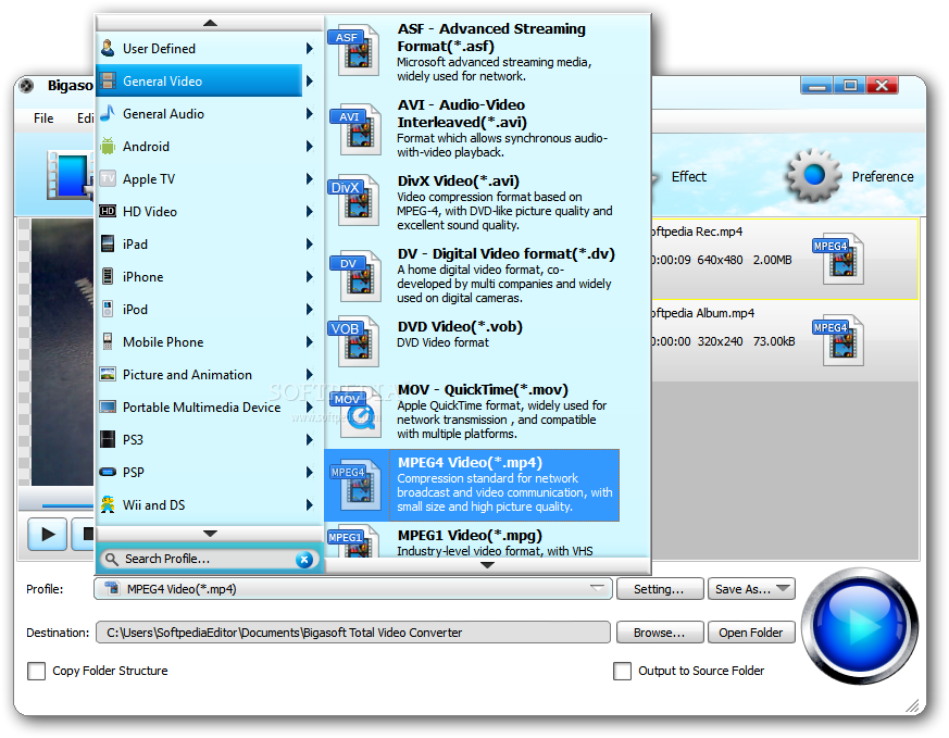 screenshot.Bigasoft.Total .Video .Converter 1 دانلود Bigasoft Total Video Converter 5.0.8.5809 نرم افزار تبدیل فایل های ویدئویی