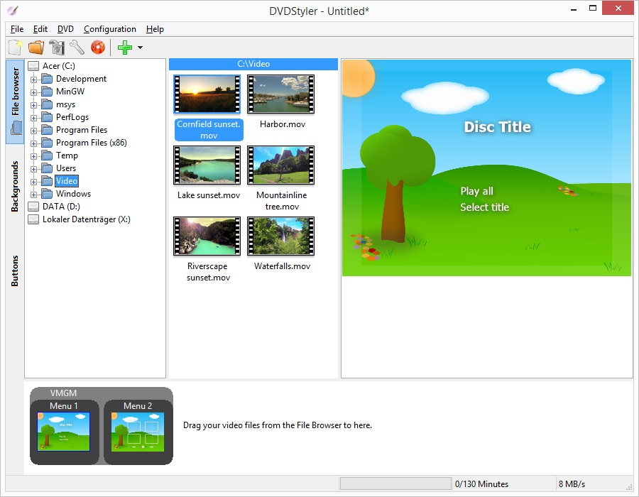 screenshot.DVDStyler 5 نرم افزار ساخت منوی دی وی دی DVDStyler 2 7 2 Final