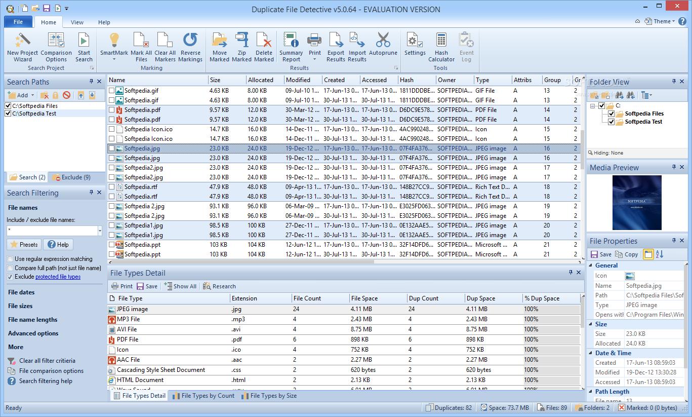 screenshot.Duplicate.File .Detective 1 نرم افزار حذف فایل های تکراری Duplicate File Detective 5 0 74