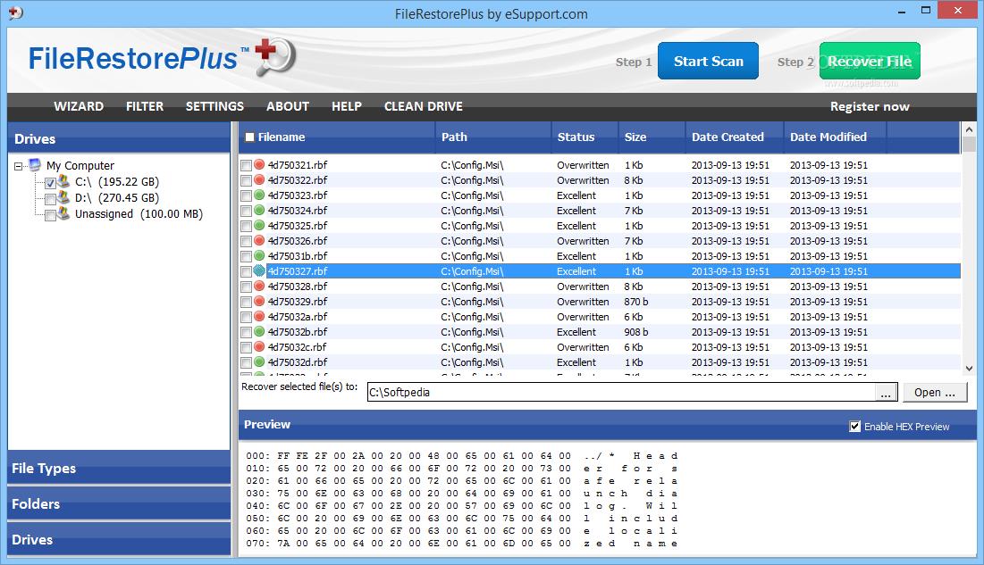 screenshot.FileRestorePlus 1 نرم افزار بازیابی فایل های حذف شده FileRestorePlus 3 0 5 Build 225