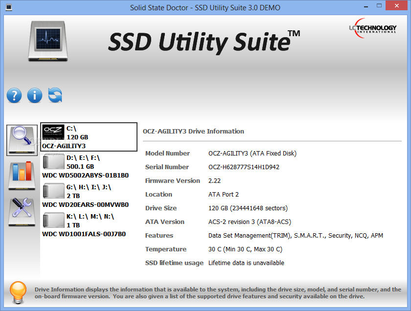 screenshot.LC .Technology.Solid .State .Doctor 1 نرم افزار مدیریت SSD ها LC Technology Solid State Doctor 3 1 0 5