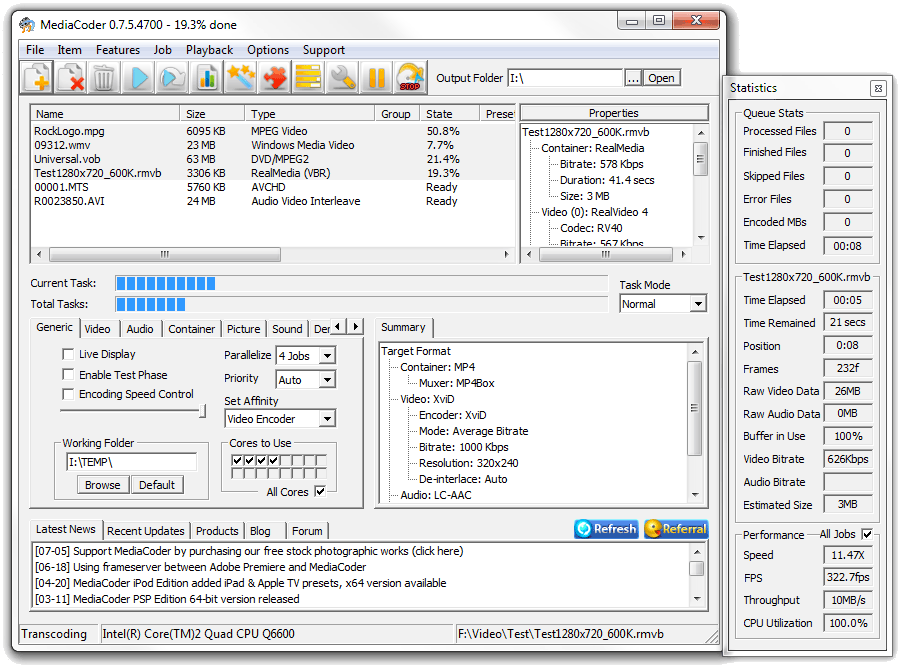 screenshot.MediaCoder تبدیل فرمت های چند رسانه ای MediaCoder 0 8 28 Build 5599 Final