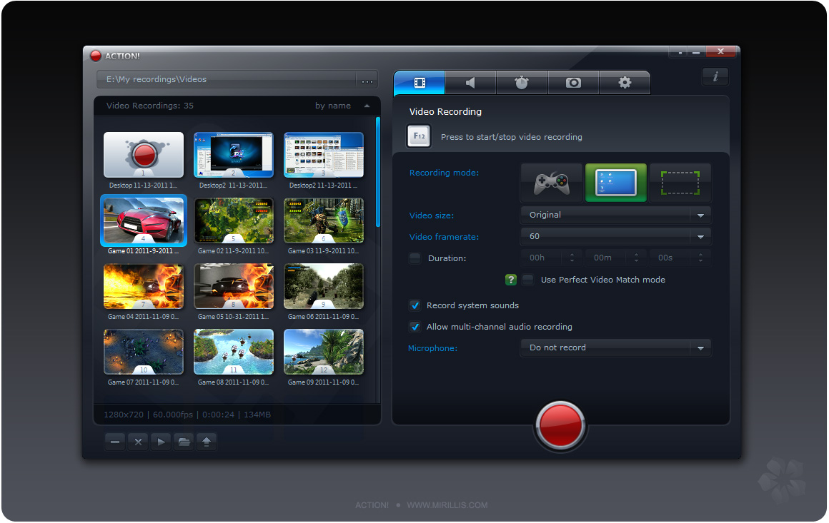 screenshot.Mirillis.Action 4 نرم افزار ضبط ویدیو از محیط ویندوز Mirillis Action 1 17 4 0