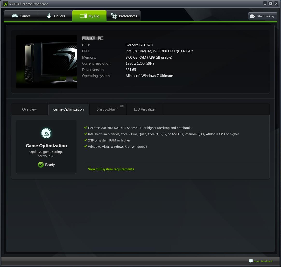 screenshot.Nvidia.GeForce.Experience 4 نرم افزار بهینه سازی بازی ها Nvidia GeForce Experience 2 0 0 0