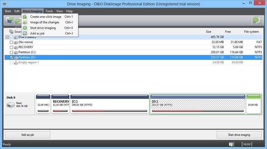 screenshot.O.O.DiskImage.3 تهیه نسخه پشتیبان از پارتیشن ها O&O DiskImage Professional 8 5 15
