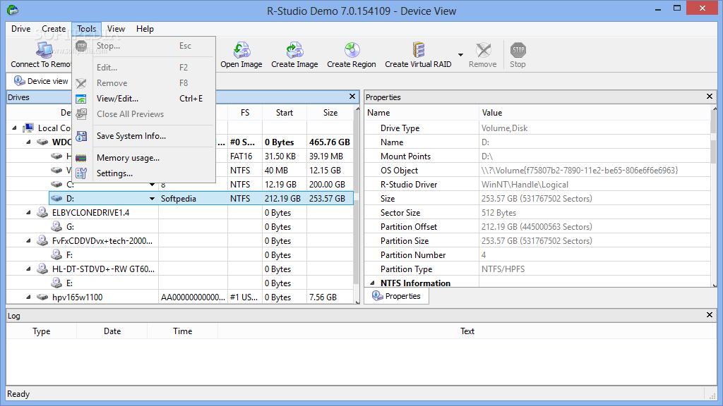 screenshot.R Studio 3 نرم افزار بازیابی اطلاعات از دست رفته R Studio 7 2 Build 154997 Network Edition