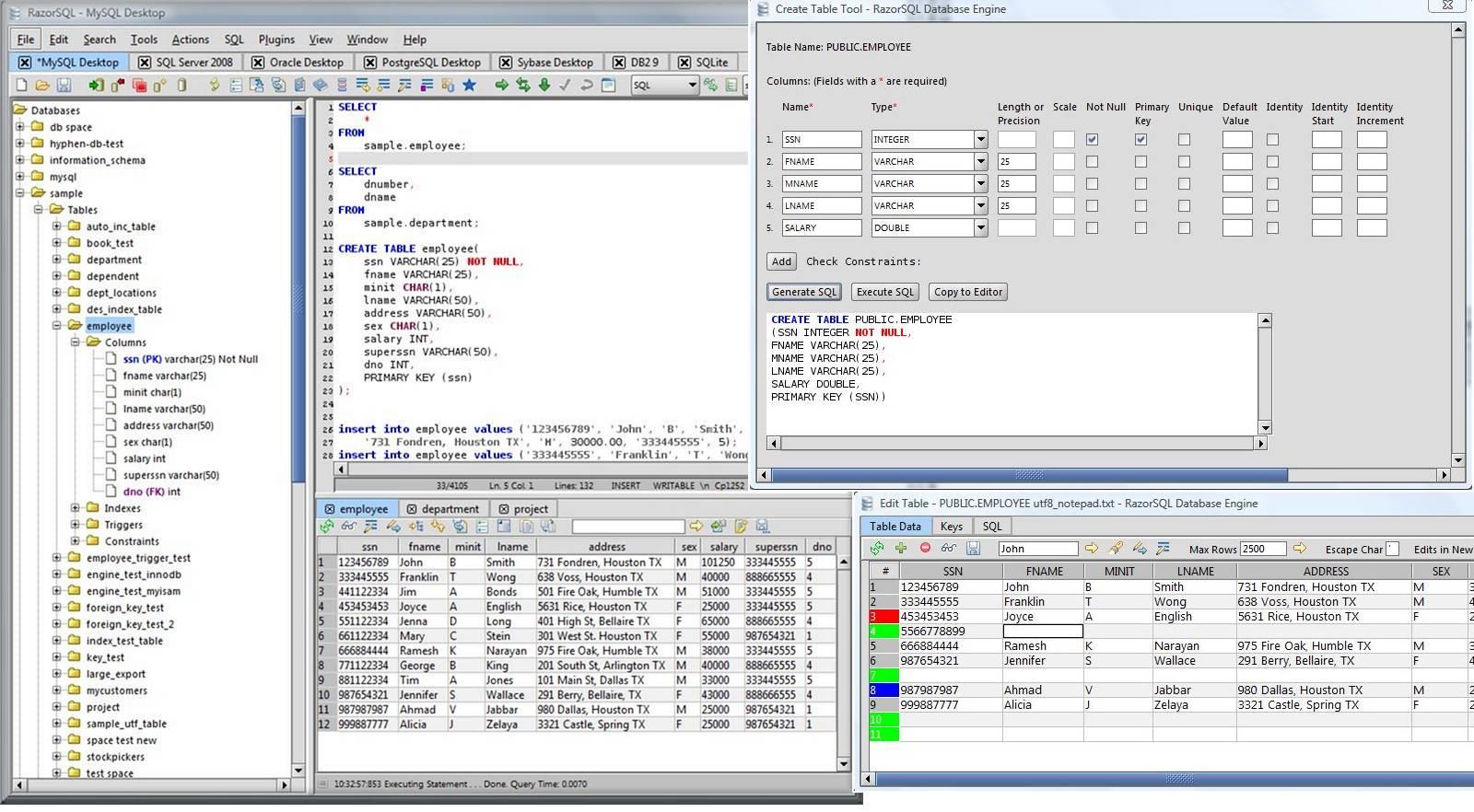 screenshot.RazorSQL نرم افزار مدیریت پایگاه داده اس كيو ال RazorSQL 6 3 4