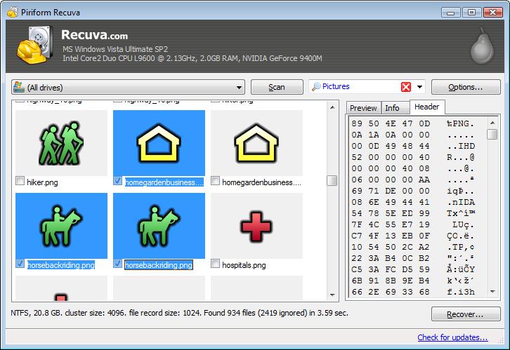 screenshot.Recuva 1 نرم افزار بازیابی اطلاعات Recuva Professional 1 51 1063