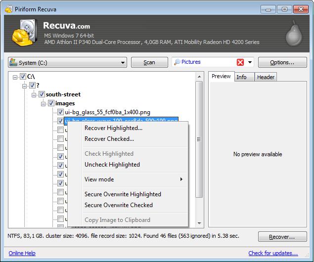 screenshot.Recuva 2 نرم افزار بازیابی اطلاعات Recuva Professional 1 51 1063