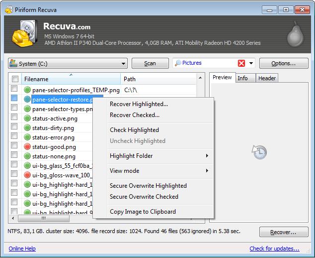 screenshot.Recuva 3 نرم افزار بازیابی اطلاعات Recuva Professional 1 51 1063