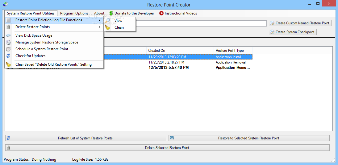 screenshot.Restore.Point .Creator.1 نرم افزار مدیریت سیستم ریستور Restore Point Creator 2 2 Build 13