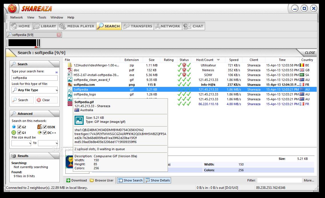 screenshot.Shareaza 2 دانلود نرم افزار اشتراک گذاری فایل Shareaza 2.7.5.0 Final