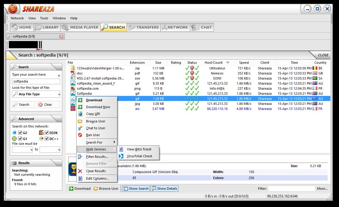 screenshot.Shareaza 3 دانلود نرم افزار اشتراک گذاری فایل Shareaza 2.7.5.0 Final